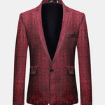 Mens Business Casual Print Slim Fit Blazer