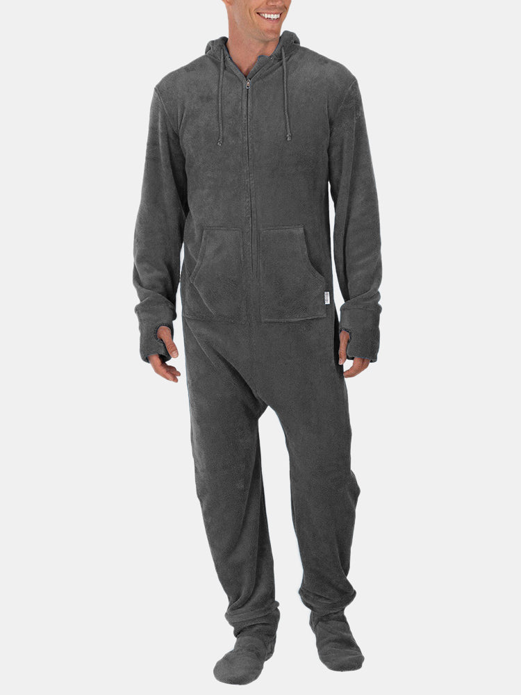 Men Flannel Thick Plain Oneness Loungewear Thermal Thumb
