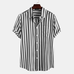 cozyrex,Mens Fashion Stripe Pocket Short Sleeve Casual Shirts,CozyRex,