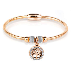 cozyrex,Classic Tree of Life Charm Bangle Bracelets Simple Rose Gold,CozyRex,