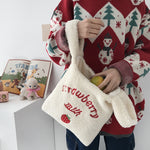 2020 Winter Women Small Plush Tote Simple Warm Cloth Wrist Bags Embroidery Handbag High Quality Eco Makeup Bag Purses For Girls