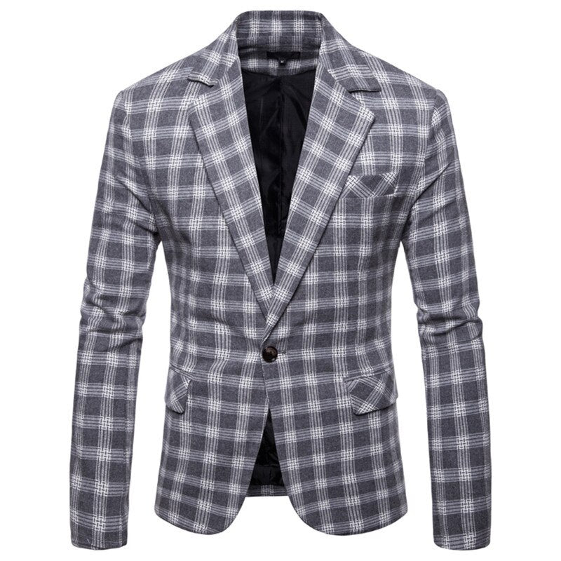 NEGIZBER Brand Fashion Men's Blazer Suits Slim Fit Plaid Single Button Blazer Men Cotton Formal Male Blazers