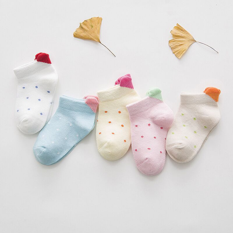 5Pairs/lot 0-2 Baby Socks Cotton Summer Infant Thin Ankle Socks Cute Heart Colorful Kids Socks For Girls Boys Toddler Dots Socks