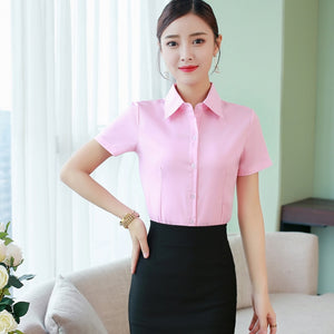 Korean Fashion Summer Cotton Women Shirts White Short Sleeve Women Blouses Ladies Plus Size 5XL Pink Womens Tops and Blouses