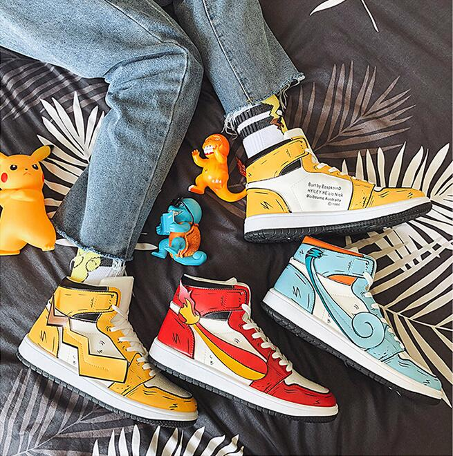 AA-1808 sport shoes men sneakers Pikachu Anime Pokemon running jogging men shoes zapatillas hombre tenis masculino walking shoes