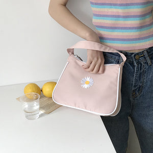 2020 Spring Women Small Handbag Daisy Embroidery Tote Ladies' Vintage Underarm Bag Zipper Half Moon Bags Waterproof Cloth Purse