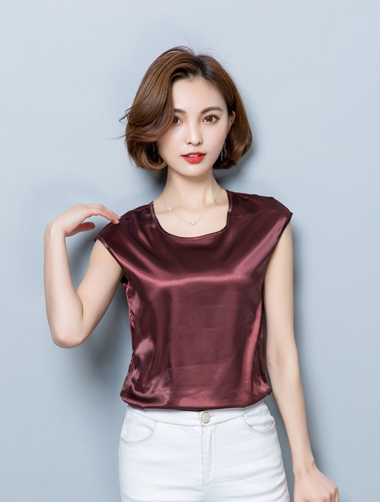Women Blouses Casual OL Silk Blouse Summer Loose Basic Satin Shirt Work Wear Blusas Feminina Tops Shirts Plus Size XXXL/4XL Tops