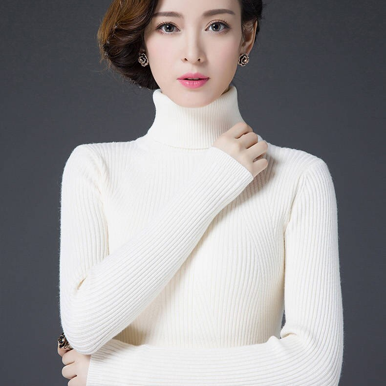 New 2020 Women Autumn Winter Cashmere Sweaters Turtleneck Warm Pullover Solid Minimalist Elegant Sweater
