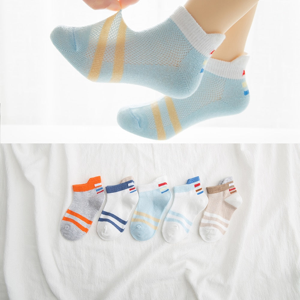 5Pairs/lot 2-9Y Baby Socks Summer Cotton Striped Sports Style Kids Socks Girls Mesh Cute Newborn Boys Toddler Socks Baby