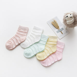 5Pairs/lot 0-2Y Baby Socks Summer Cotton Striped Heart Thin Kids Socks Solid Girls Mesh Cute Newborn Boy Toddler Socks Baby