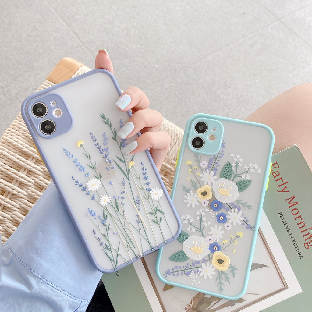 Luxury 3D Relief Flower Case For iPhone 11 Pro Max X XR XS Max 7 8 Plus SE2020 Soft Bumper Transparent Matte PC Back Cover