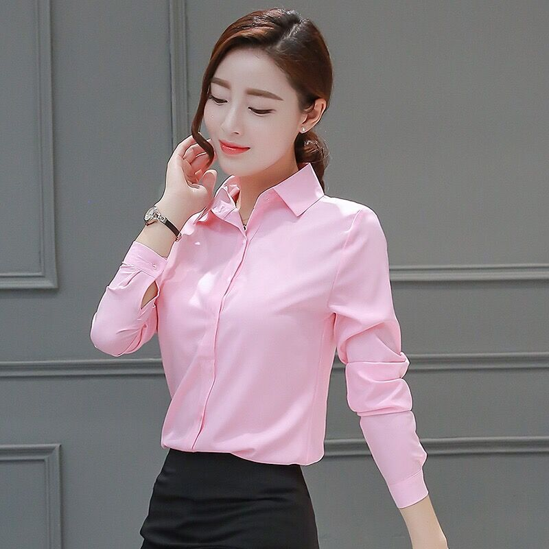 Womens Blouses Cotton Tops and Blouses Casual Long Sleeve Ladies Shirts Pink/White Blusas Plus Size XXXL/5XL Blusa Feminina Tops