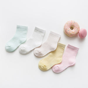 5Pairs/lot 2-9Y Baby Socks Summer Cotton Jacquard Kids Socks Solid Colorful Girls Mesh Cute Newborn Boy Toddler Socks Baby