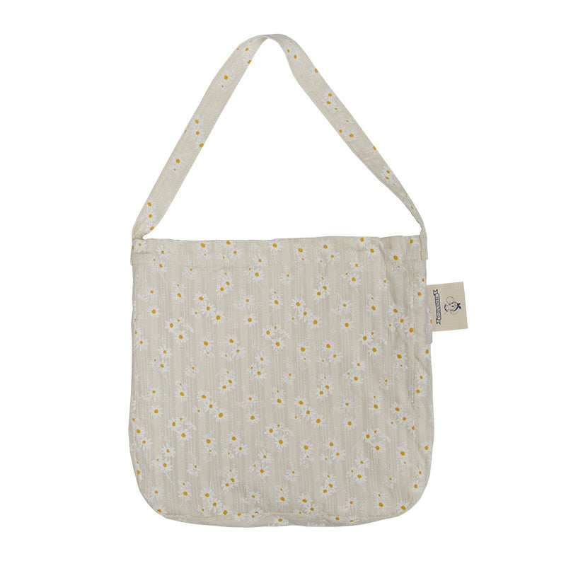 Women Canvas Shoulder Bags Embossed Daisy Design Ladies Floral Handbag Casual Tote Literary Books Bag Shopping Bag For Girls
