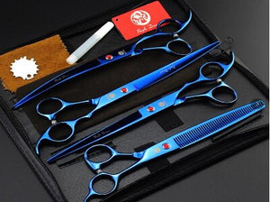 Purple Dragon 8.0 inch Professional Pet Dog Grooming Scissors Hair Cutting Straight Curved Thinning Scissors 4 PCS Set