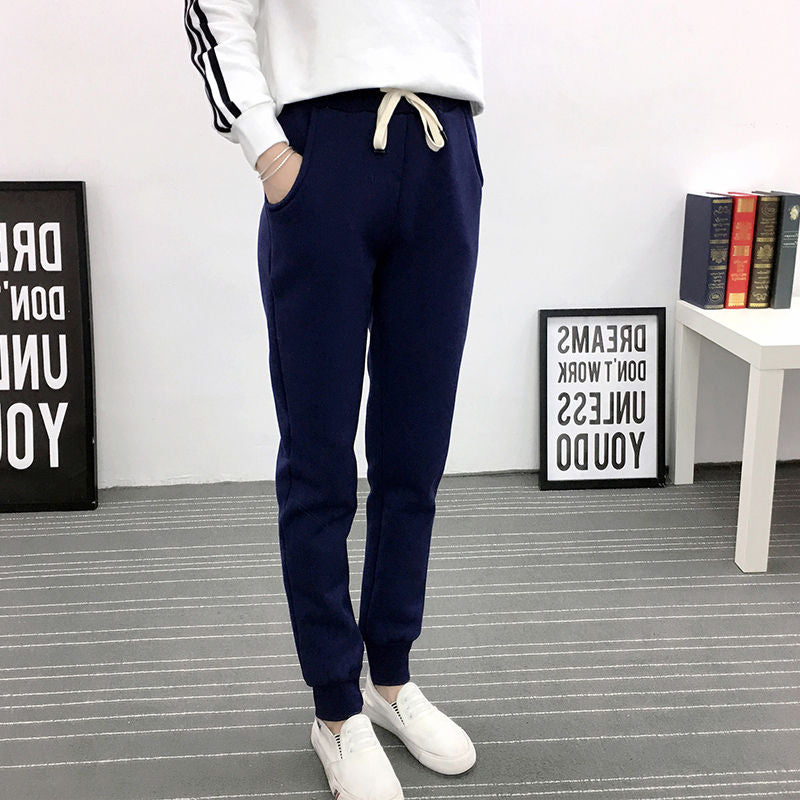Autumn Winter Women Casual Thicken Warm Plus Size Trousers Women 3XL Lambs Wool Sweatpants Women Lace Up Long Harem Pants HK194