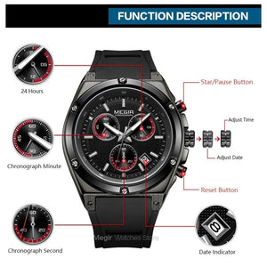 Megir Men Black Silicone Sports Quartz Wrist Watches Luminous Relojios Relojes Waterproof Chronograph Clock Montres Q2073G-BK-1