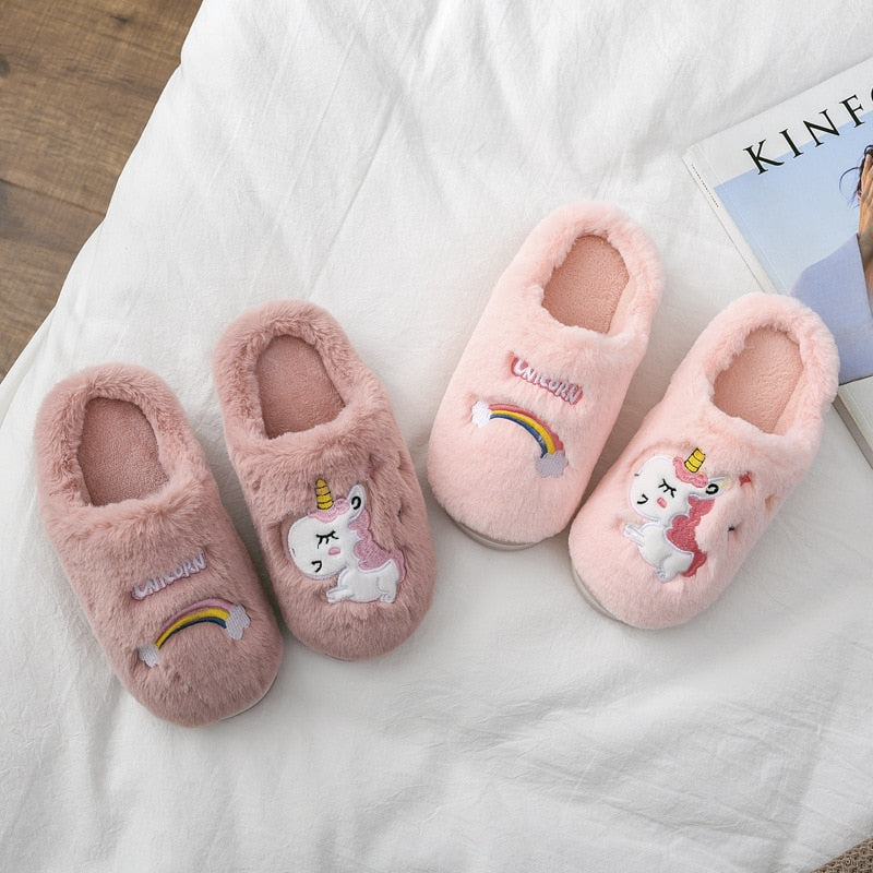Winter Unicorn Slippers Kids Toddler Girl Flip Flop Baby Boys Fur Slides Cotton Indoor Shoes Warm Fluffy House Children Slipper
