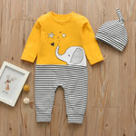 2Pcs Newborn Baby Boys Girls Cartoon Elephant Print Romper Long Sleeve Jumpsuit+Hat Infant Clothing Set Toddler Clothes Outfits