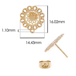 cozyrex,10pcs Stainless Steel Geometric Round Earring Stud Golden hollow Flowers Earrings Base Connectors Linker Diy Making Accessories,CozyRex,
