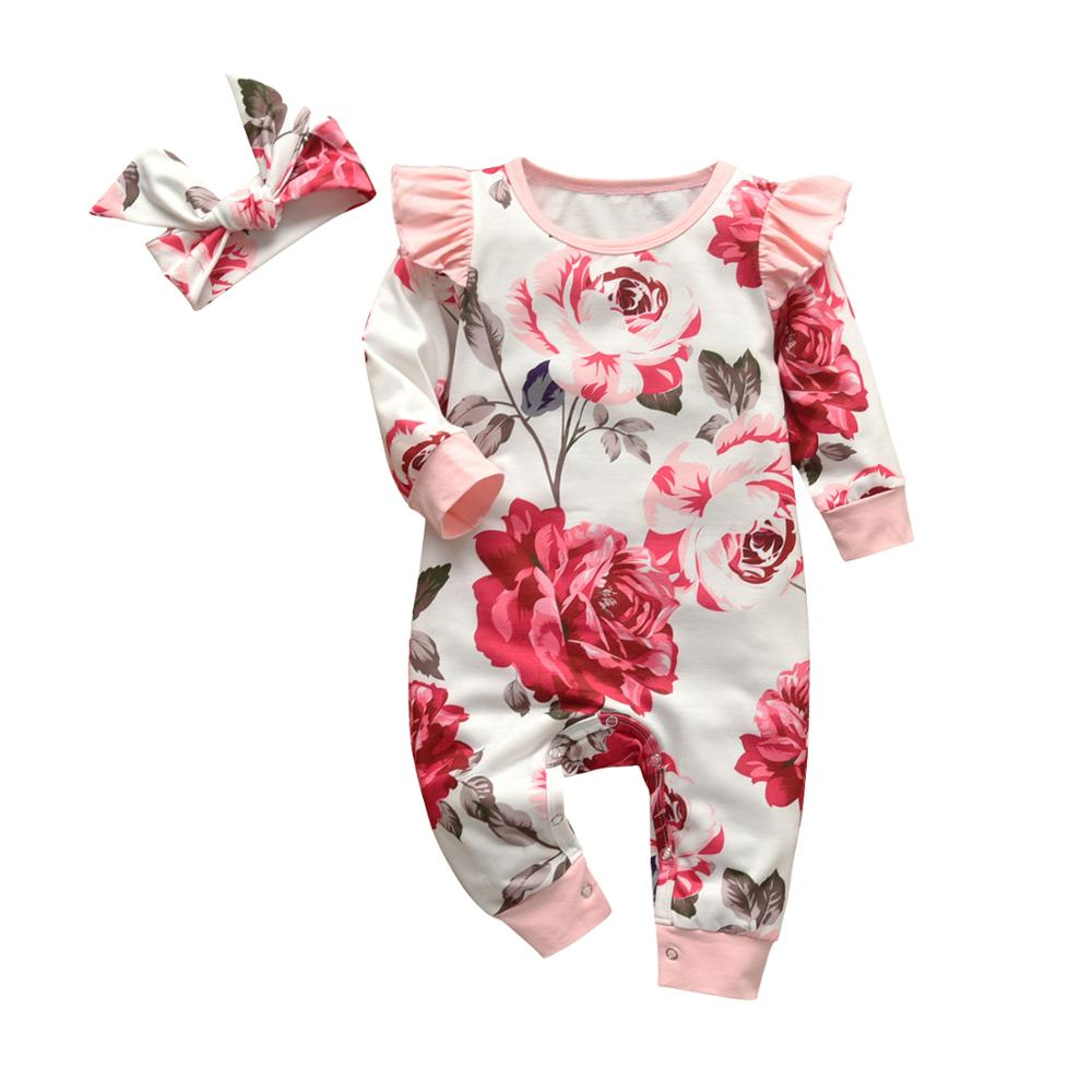 2Pcs Baby Girls Romper Cartoon Rabbit Pattern Cotton Long Sleeve Jumpsuit+Headband Outfits Set Newborn Infant Clothes