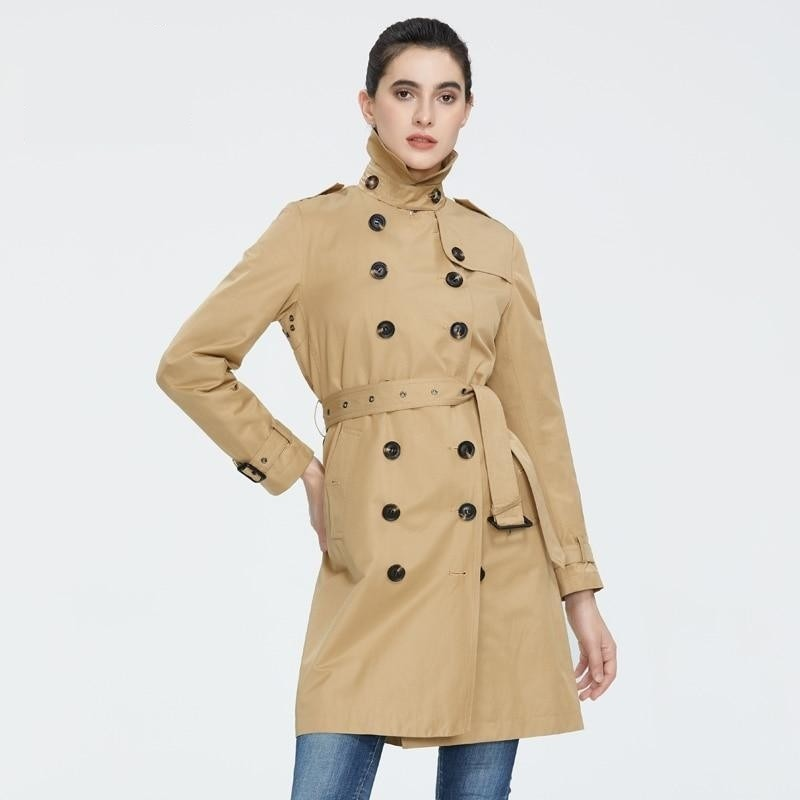 ICEbear 2020 Women spring lapel windbreaker fashion double breasted women's trench coat quality women clothing GWF20023D