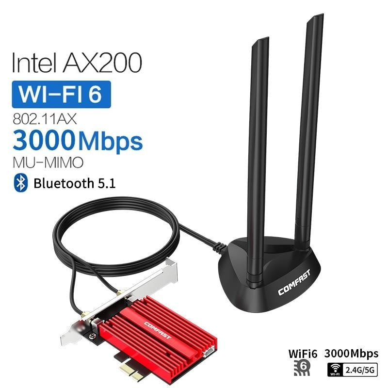 Dual band 3000Mbps Wifi 6 AX200NGW PCI-E 1X Wireless Adapter 2.4G/5Ghz 802.11ac/ax Bluetooth 5.1 For Win10 AX200 Network Card