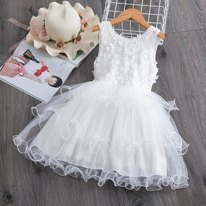 cozyrex,Summer Toddler Girls Lace Cake Dress Kids Sleeveless Floral Mesh Wedding Dresses Children Clothing For Baby Girls 3 to 8 Years,CozyRex,
