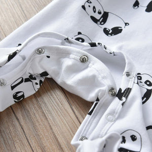 Newborn Infant Baby Boys Rompers Casual Long Sleeve Cartoon Panda Print Jumpsuit Autumn Baby Clothes Pajamas