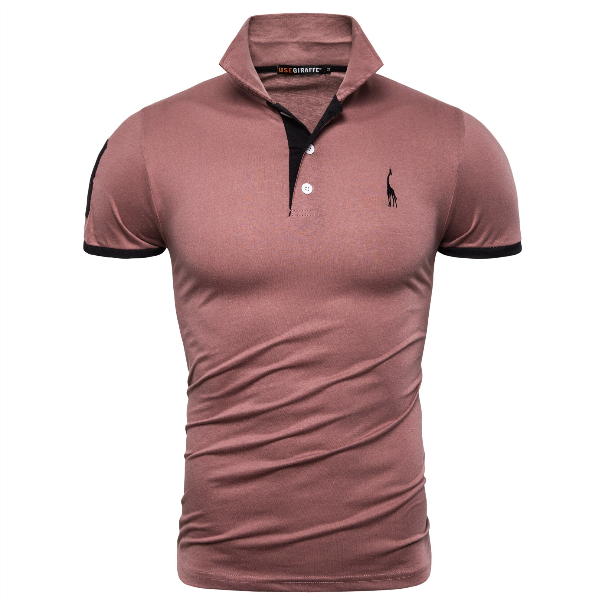 Dropshipping 13 Colors PoloGiraffe T Shirt Men Deer Embroidery Short Sleeve T-Shirts Casual Turn Down Collar Tops Tees For Men