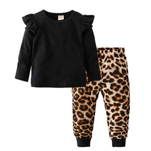 Fashion Cool Baby Girls Clothing Set Cotton Long Sleeve Black Tops+Leopard Pants Casual Toddler 2Pcs Newborn Baby Girls Clothes