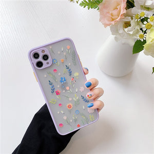 Luxury Cute Flower Case For iPhone 11 Pro Max X XR XS Max 7 8 Plus SE2020 Bumper Matte Phone Back Cover Coque Funda