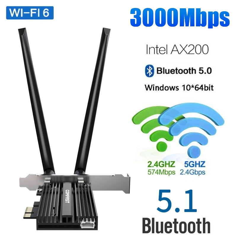 3000Mbps Dual Band Wireless Desktop PCIe For Intel AX200 Pro Card 802.11ax 2.4G/5Ghz Bluetooth 5.1 PCI Express WiFi 6 Adapter
