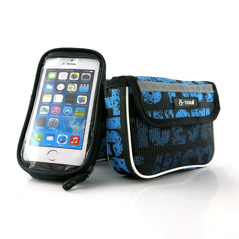 Bicycle Bag Waterproof Front Bike Bag Bicycle Top Tube Handlebar Bags Mountain 5.5 inch Mobile Phone Cycling Bicycle Accessorie