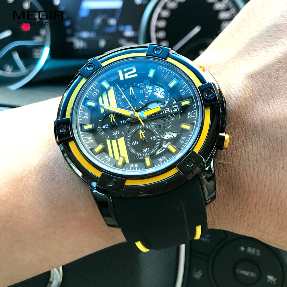 Megir Men's Black Silicone Strap Quartz Watches Chronograph Sports Wristwatch for Man 3atm Waterproof Luminous Hands 2097 Yellow