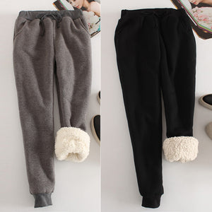 Women Casual Velvet Pants Winter Lady Thick Wool Pants Women Clothing Lace-up Long Trousers