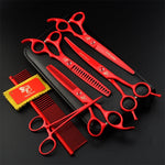 7.0 Inch Professional Pet Scissors For Dog Grooming Dogs Shears Hair Cutter Straight &Thinning & Curved Scissors 4pcs Set +Comb