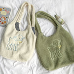 Women Lamb Like Fabric Shoulder Bag Simple Canvas Handbag Tote Large Capacity Embroidery Shopping Bag Cute Book Bags For Girls