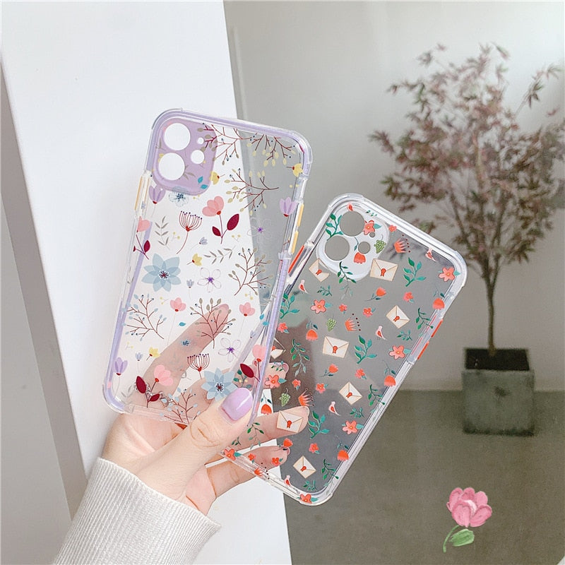 Luxury Flower Case For iPhone 11 Pro Max X XR XS Max 7 8 Plus SE2020 Soft TPU Transparent Floral Phone Cover Coque