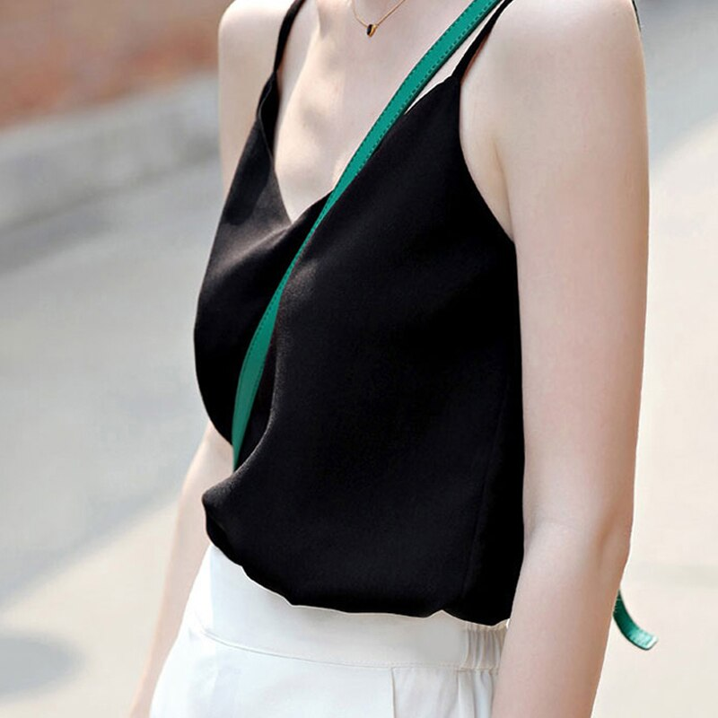 Chiffon Top Women Sexy Sleeveless Top Plus Size Camis Tops Women Summer Halter Tops Korean Woman Harajuku Strap Vest Tees Female