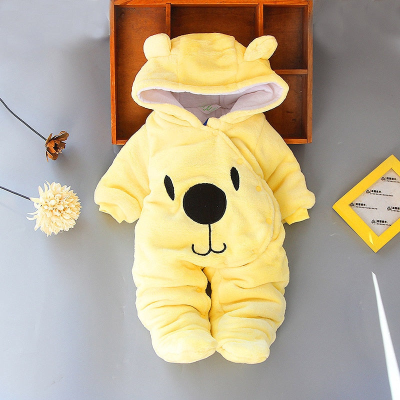 Baby clothing Boy girls Clothes Cotton Newborn toddler rompers cute Infant bear new born winter Hoodie romper   0-18M