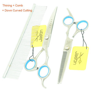"Stainless Steel 7.0"" Pet Scissors Set Dog Cutting Shears Curved Clipper 6.5"" Thinning Tesoura Grooming Scissors for Pets LZS0765"