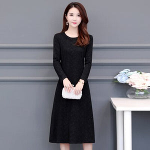Autumn Winter Long Sleeve Dress O-Neck Ladies Office Work Casual Dress High Quality Elastic Plus Size 5XL 6XL Mom Dress RE2486