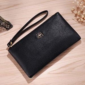 Women Long Casual Wallet Litchi Grain PU Leather Lady Zipper Phone Pocket Credit Card Holder Female Purse Coin Money Bag Clutch