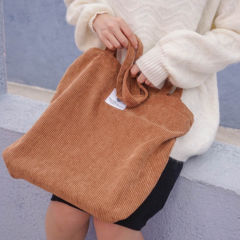 Women Corduroy Canvas Tote Handbag Female Cloth Shoulder Bags Young Ladies Casual Shopping Bag Girls Reusable Folding Bags