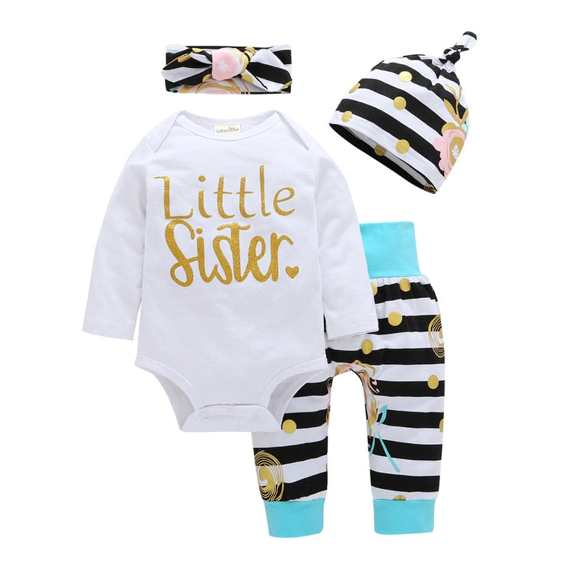 4Pcs Newborn Baby Girls Clothes Sets Little Sister Long Sleeve Romper+Striped Long Pants+Hat+Headband Toddler Clothing Outfits