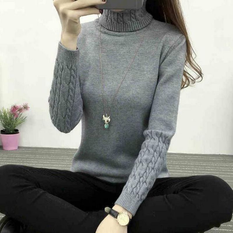 2020 New Autumn Winter Women Knitted Sweaters Pullovers Turtleneck Long Sleeve Solid Color Slim Elastic Sweater Women