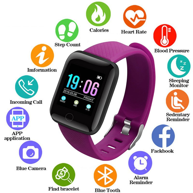 Smart Sport Watches Waterproof Blood Pressure Heart Rate Watch Pedometer Calories for ios Android Fitness Wristwatches +Box 2020