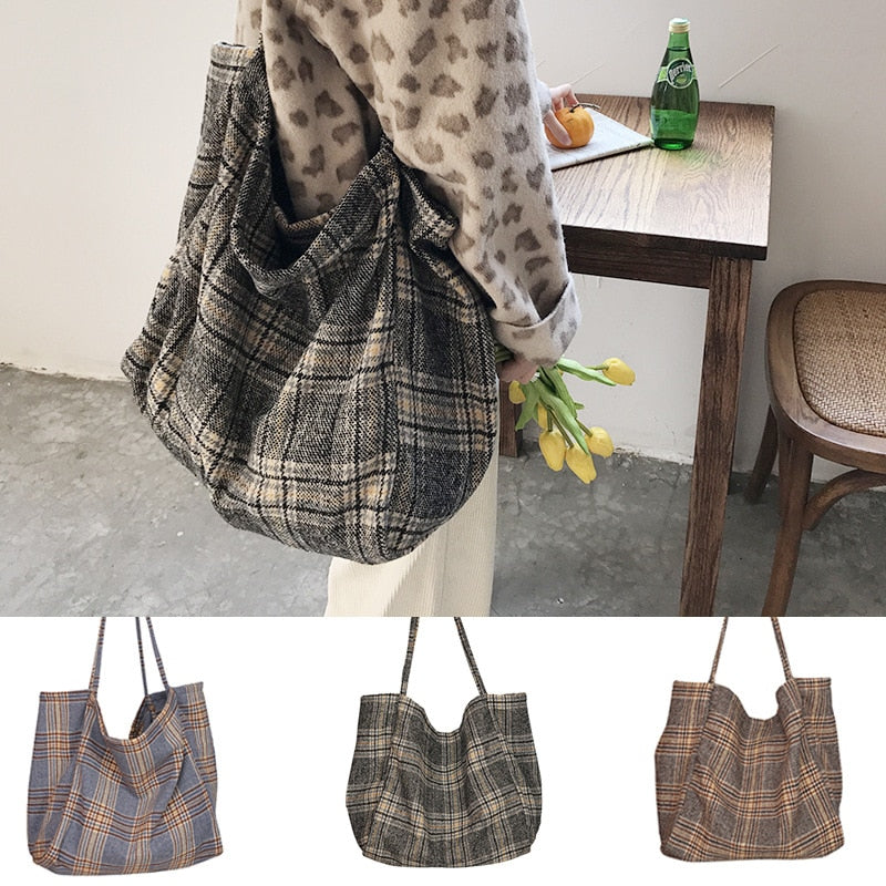 Women Woolen Canvas Bags Scottish Pattern Vintage Plaid Female Large Capacity Big Tote Handbag Ladies Casual Shoulder Bag