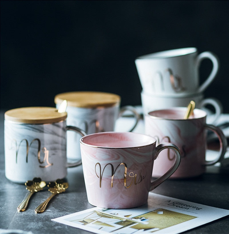 Cearive 350ml Marble Ceramic Coffee Mug Milk Tea Breakfast Cups Mr and Mrs Gold Inlay Mugs For Gifts